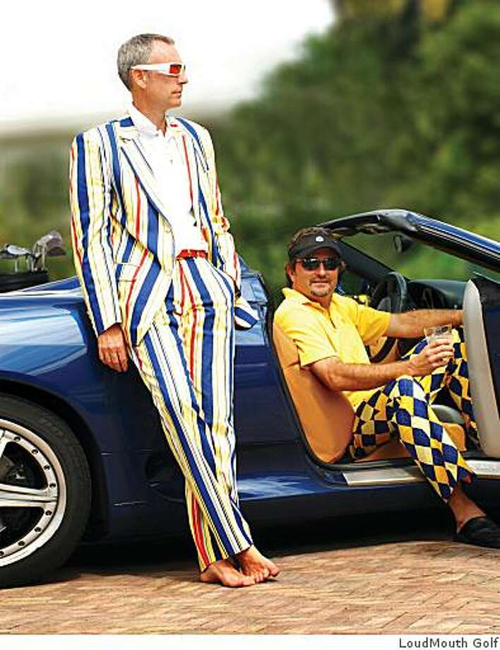 Loudmouth Golf founder Scott ?Woody? Woodworth (standing with pants and blazer) and co-founder Larry Jackson. Photo: LoudMouth Golf