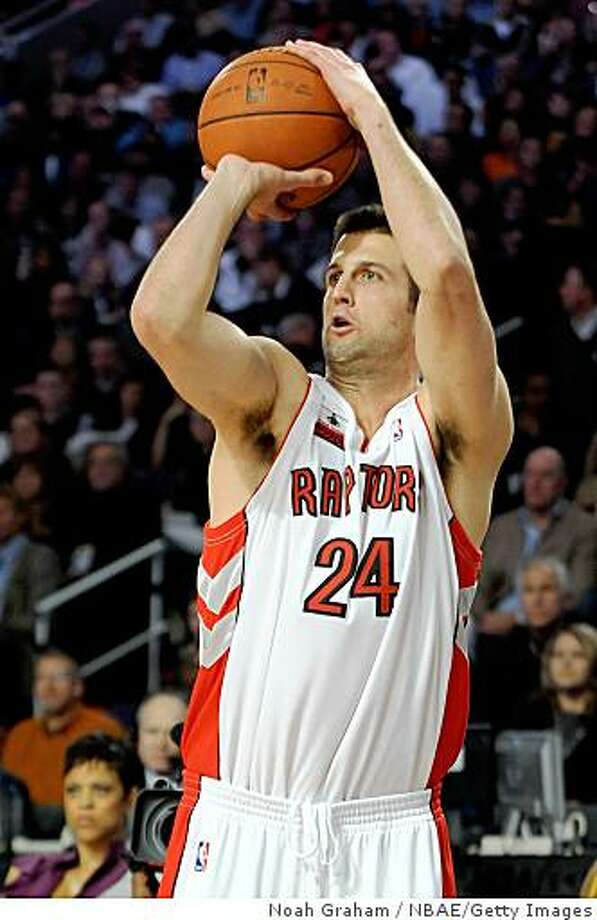 PHOENIX - FEBRUARY 14:  Jason Kapono #24 of the Toronto Raptors participates in the Foot Locker Three-Point Shootout on All-Star Saturday Night, part of 2009 NBA All-Star Weekend at US Airways Center on February 14, 2009 in Phoenix, Arizona.  NOTE TO USER: User expressly acknowledges and agrees that, by downloading and or using this photograph, User is consenting to the terms and conditions of the Getty Images License Agreement.  Mandatory Copyright Notice: Copyright 2009 NBAE  (Photo by Noah Graham/NBAE/Getty Images) Photo: Noah Graham, NBAE/Getty Images