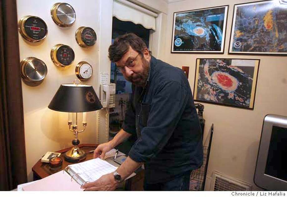 Mike Polansky, has an array of weather instruments at his home to measure humidity, rain, wind speed, and temperature. �2007, San Francisco Chronicle/ Liz Hafalia  MANDATORY CREDIT FOR PHOTOG AND SAN FRANCISCO CHRONICLE. NO SALES- MAGS OUT. Photo: Liz Hafalia