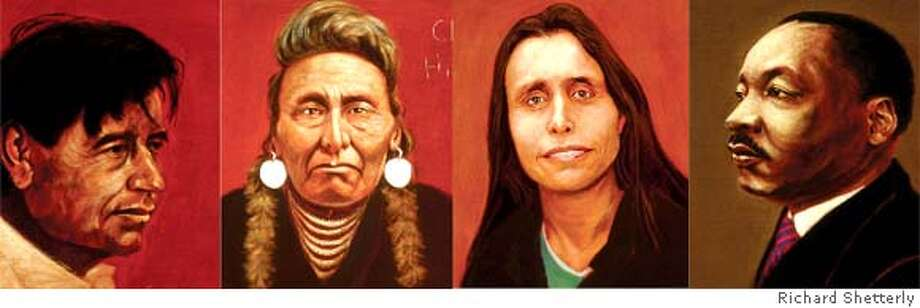 """Portraits of Cesar Chavez, Chief Joseph Hinmton Yalekt, Winona LaDuke and Martin Luther King, Jr. are just some of the more than 50 individuals featured in the art exhibit called """"Americans Who Tell the Truth."""" Photo: Richard Shetterly"""
