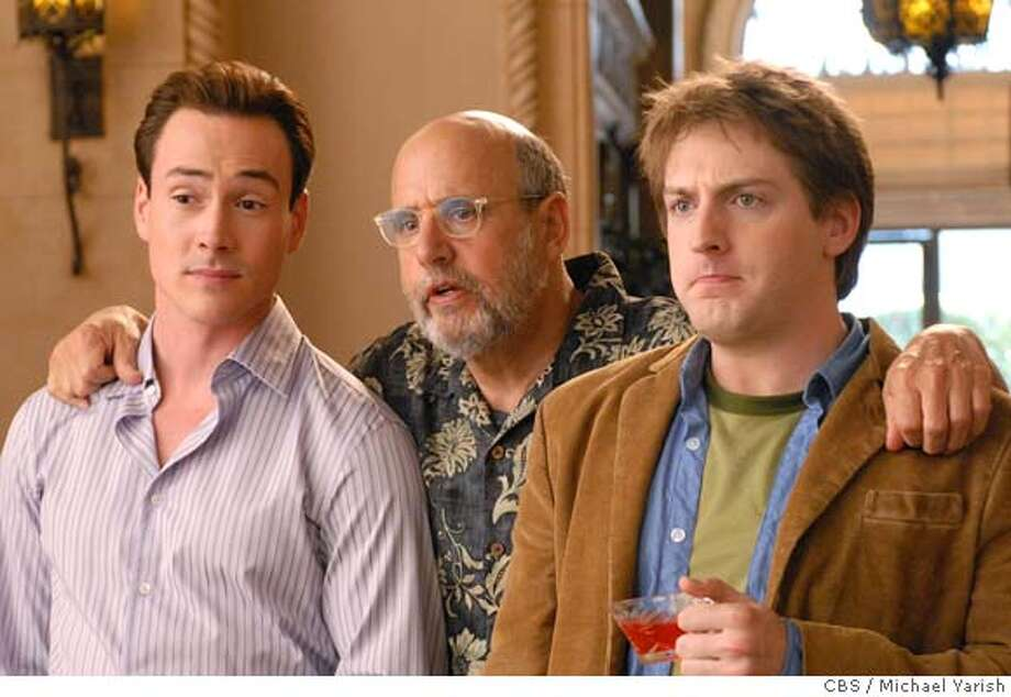 """Welcome to The Captain -- Pilot-- Marty (Chris Klein, left), Uncle Saul (Jeffrey Tambor, center) and Josh (Fran Kranz, left) share a moment in the lobby of the El Captain apartment building on WELCOME TO THE CAPTAIN,, Monday, February 4 (8:30-9:00 PM, ET/PT) on the CBS Television Network. Photo: Michael Yarish/CBS 2007 CBS Broadcasting Inc. All Rights Reserved  """"Pilot""""-- Marty (Chris Klein, left), Uncle Saul (Jeffrey Tambor, center) and Josh (Fran Kranz, left) share a moment in the lobby of the El Captain apartment building on WELCOME TO THE CAPTAIN, Monday, January 28 (8:30-9:00 PM, ET/PT) on the CBS Television Network. Photo: Michael Yarish/CBS �2007 CBS Broadcasting Inc. All Rights Reserved. """"Pilot""""-- Marty (Chris Klein, left), Uncle Saul (Jeffrey Tambor, center) and Josh (Fran Kranz, left) share a moment in the lobby of the El Captain apartment building on WELCOME TO THE CAPTAIN,, Monday, February 4 (8:30-9:00 PM, ET/PT) on the CBS Television Network. Photo: Michael Yarish/CBS 2007 CBS Broadcasting Inc. All Rights Reserved. Episodic coverage of the CBS Pilot THE CAPTAIN.  Photo: Michael Yarish/CBS  �2007 CBS Broadcasting Inc. All Rights Reserved. Photo: Michael Yarish/CBS MICHAEL YARRI"""