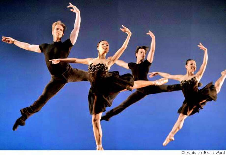 Nutnaree Pipit-Suksun, center, along with other members of the ballet in 7 For Eight. Views from the new San Francisco ballet, Program 1.  (By Brant Ward/San Francisco Chronicle)  Ran on: 01-31-2008  Nutnaree Pipit-Suksun (center), Tuesday's soloist in &quo;7 for Eight,&quo; dances with solid elegance, like marble. Photo: Brant Ward