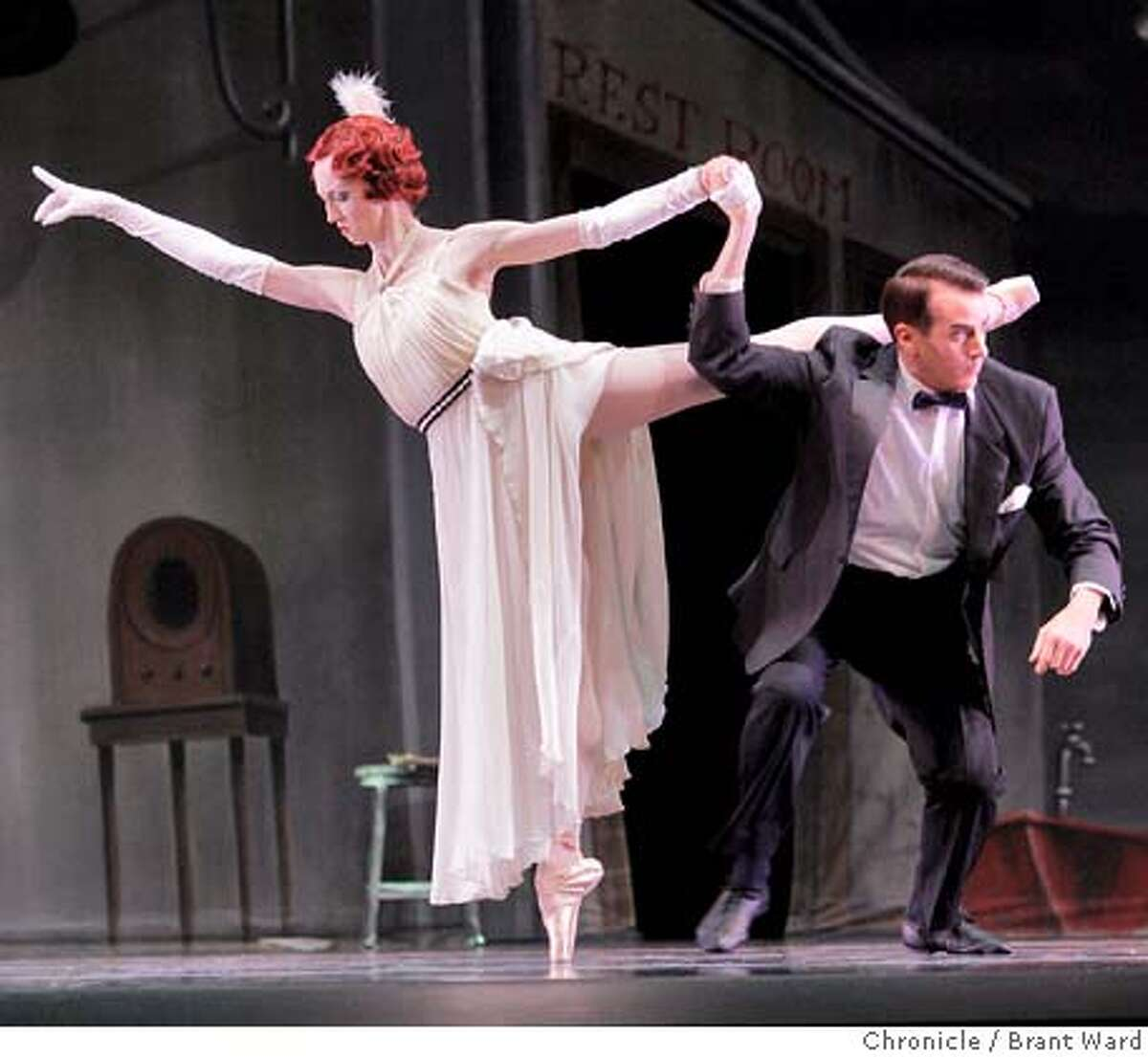 Katita Waldo, left and Val Caniparoli as two slightly drunken rich people who appear at the Filling Station. Views from the new San Francisco ballet, Program 1. (By Brant Ward/San Francisco Chronicle) Ran on: 01-31-2008 Nutnaree Pipit-Suksun (center), Tuesdays soloist in 7 for Eight, dances with solid elegance, like marble.