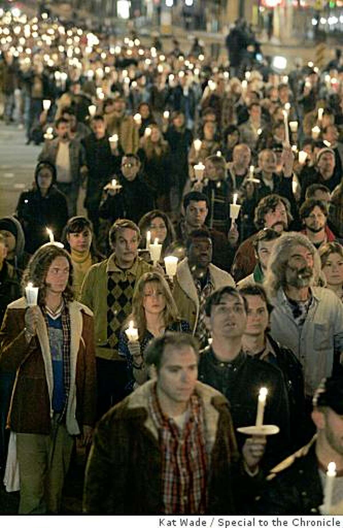 Thousands of local volunteer extras perform a faux candlelight vigil down Market Street for Harvey Milk for a scene in the film, Milk staring Sean Penn on Saturday, February 9, 2008 in San Francisco, Calif.