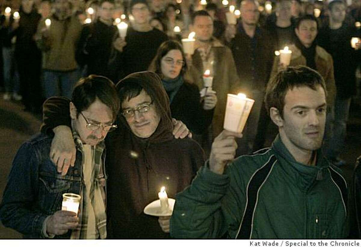 Real emotions flowed for San Francisco's first openly gay supervisor during the candlelight vigil down Market Street for Harvey Milk for a scene in the film, Milk staring Sean Penn on Saturday, February 9, 2008 in San Francisco, Calif.