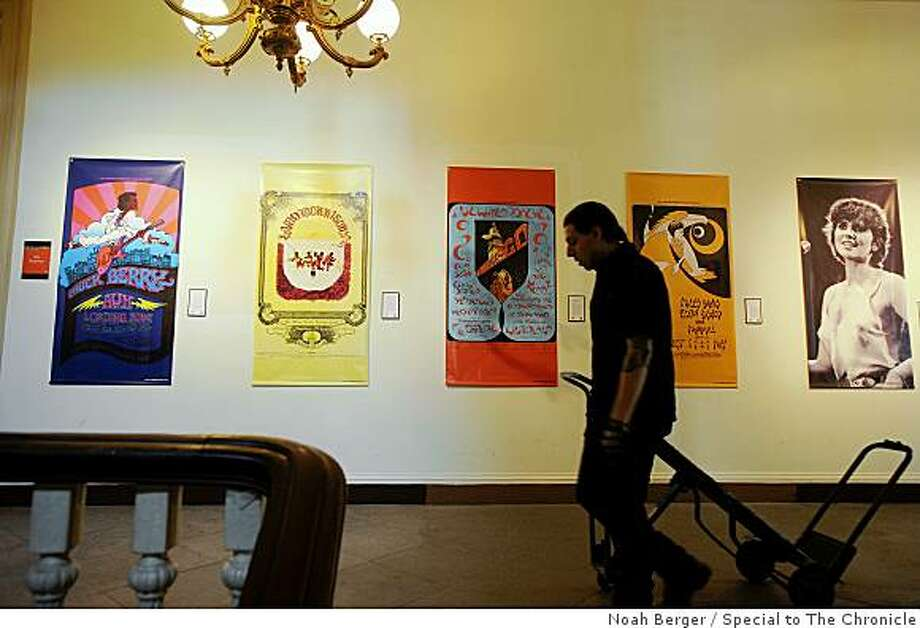 "Historic posters hang at the Old Mint on Friday, June 5, 2009, in San Francisco. The building will open its doors for to the public for ""Backstage Pass: A Sweeping History of Rock.""'n Roll at the Old Mint."" Photo: Noah Berger, Special To The Chronicle"
