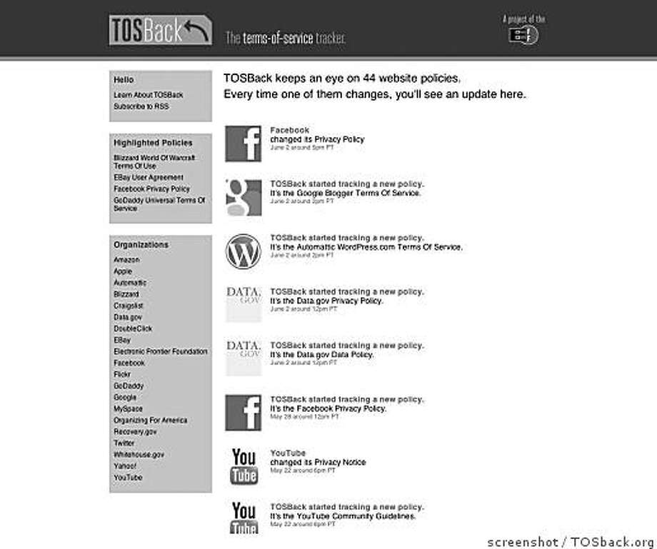 Screenshot of the TOSback.org, a site that tracks terms of service agreements. Used to accompany techblog story of June, 5, 2009 Photo: Screenshot, TOSback.org