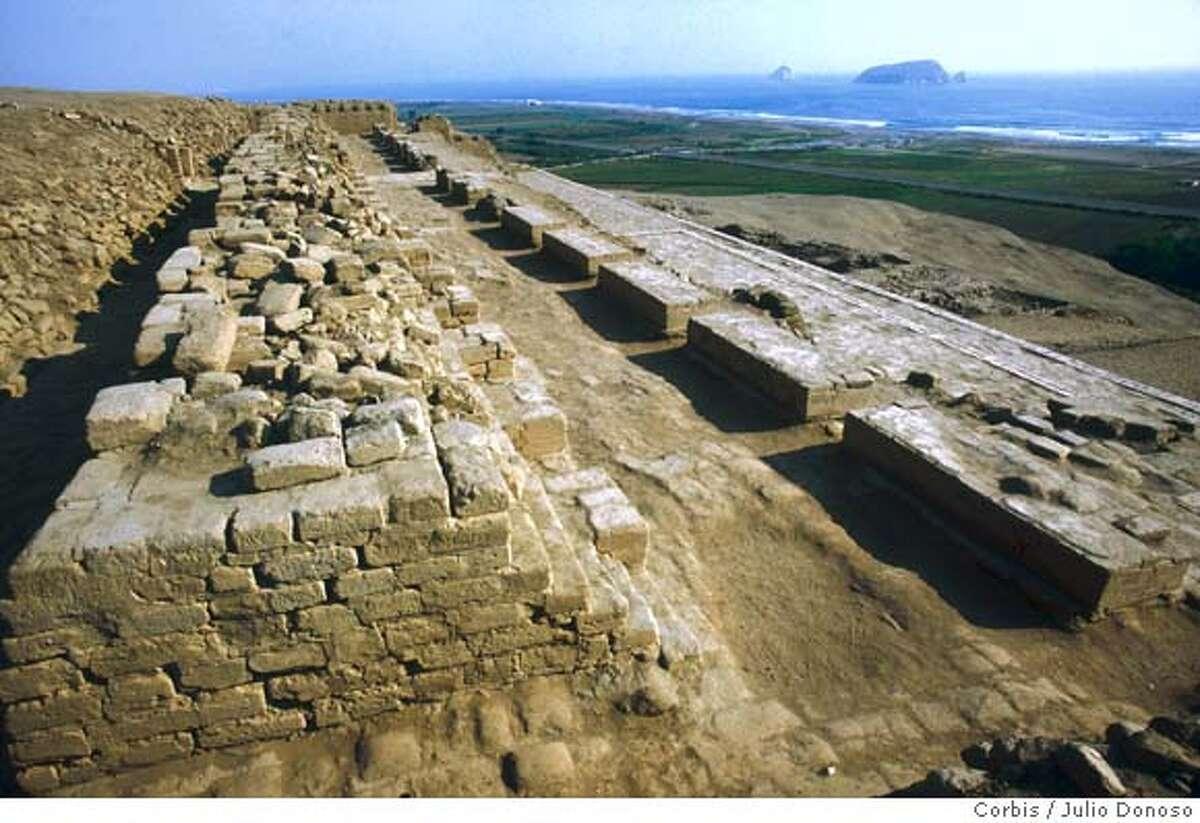 1986, Pachacamac, Peru --- Pachacamac is a set of pyramids of the Tihuanaco Huari period, the remains of a pre-Inca city south of Lima. --- Image by � Julio Donoso/CORBIS SYGMA
