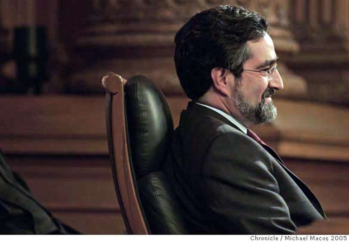 Supervisor Aaron Peskin takes over the seat of President of the Board of supervisors. San Francisco swears in three new first time Supervisors Ross Mirkarimi, Michela Alioto-Pier and Sean Elsbernd. Also 4 others were re-elected in their districts, Aaron Peskin, Jake McGoldrick, Tom Amiano and Gerardo Sandoval. 1/8/05 San Francisco, Ca Michael Macor / San Francisco Chronicle