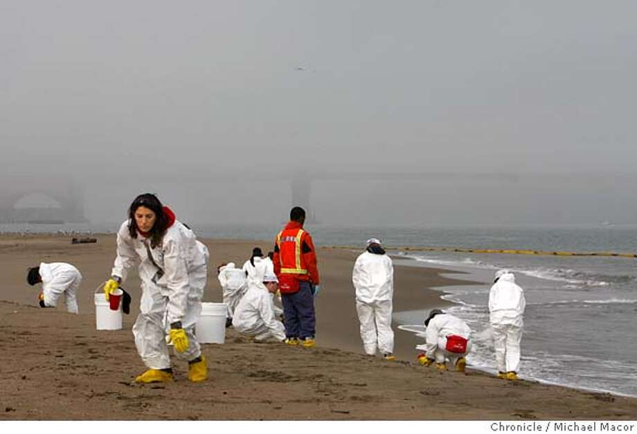 spill18_reopen_090_mac.jpg Volunteer Yael Dahan of Marin Co., (front left) along with a dozen helpers, scour the beach at Crissy Field for any remaining oil before the beach is reopened this afternoon. The reopening of local beaches following the oil spill disaster now underway around San Francisco Bay. Michael Macor / The Chronicle Photo taken on 11/17/07, in San Francisco, CA, USA MANDATORY CREDIT FOR PHOTOG AND SAN FRANCISCO CHRONICLE/NO SALES-MAGS OUT Photo: Michael Macor
