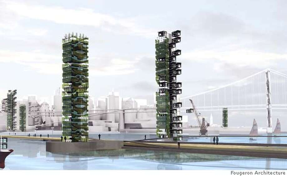 "Fougeron Architecture proposed a series of 40 story agricultural towers as part of a larger vision on the Bay Area should raise nearly all the food it consumes."" Photo: Fougeron Architecture"