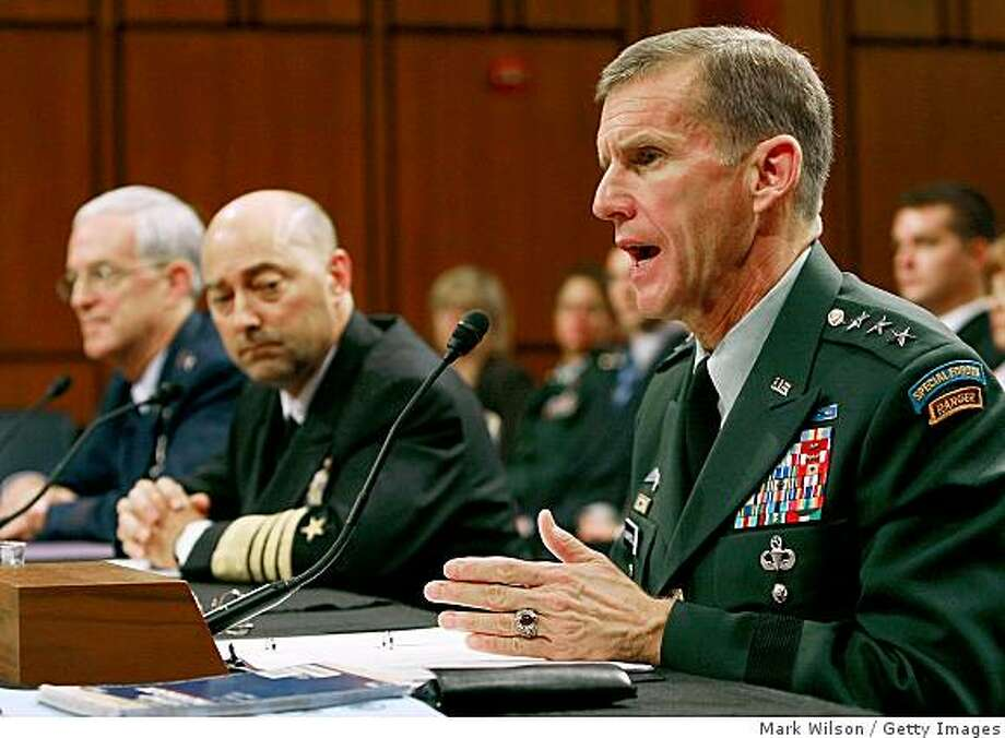 WASHINGTON - JUNE 02:  Army Lt. Gen. Stanley McChrystal testifies while flanked by Navy Adm. James Stavridis (C) and Air Force Lt. Gen. Douglas Fraser (L) during his Senate Armed Services Committee confirmation hearing at the US Capitol June 2, 2009 in Washington, DC. If confirmed by the Senate, McChrystal will become general and commander of the International Security Assistance Force and commander of U.S. Forces, Afghanistan.  (Photo by Mark Wilson/Getty Images) Photo: Mark Wilson, Getty Images
