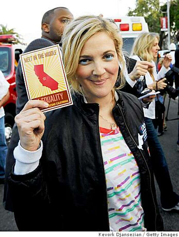 LOS ANGELES, CA - MAY 26:  Actress Drew Barrymore attends a march following the California Supreme Court's ruling to uphold Proposition 8, on May 26, 2009 in West Hollywood, California. The California State Supreme Court voted 6-1 to uphold proposition 8 which makes it illegal for same-sex couples to marry in the state of California. More than 18,000 same-sex couples that wed before prop 8 was voted in will still be legally married.  (Photo by Kevork Djansezian/Getty Images) Photo: Kevork Djansezian, Getty Images