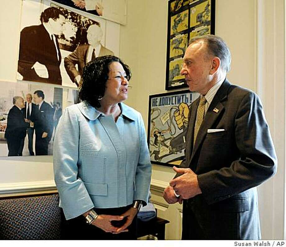 Supreme Court nominee Sonia Sotomayor meets with Sen. Arlen Specter, D-Pa., in his hideaway office on Capitol Hill in Washington, Thursday, June 4, 2009. (AP Photo/Susan Walsh) Photo: Susan Walsh, AP