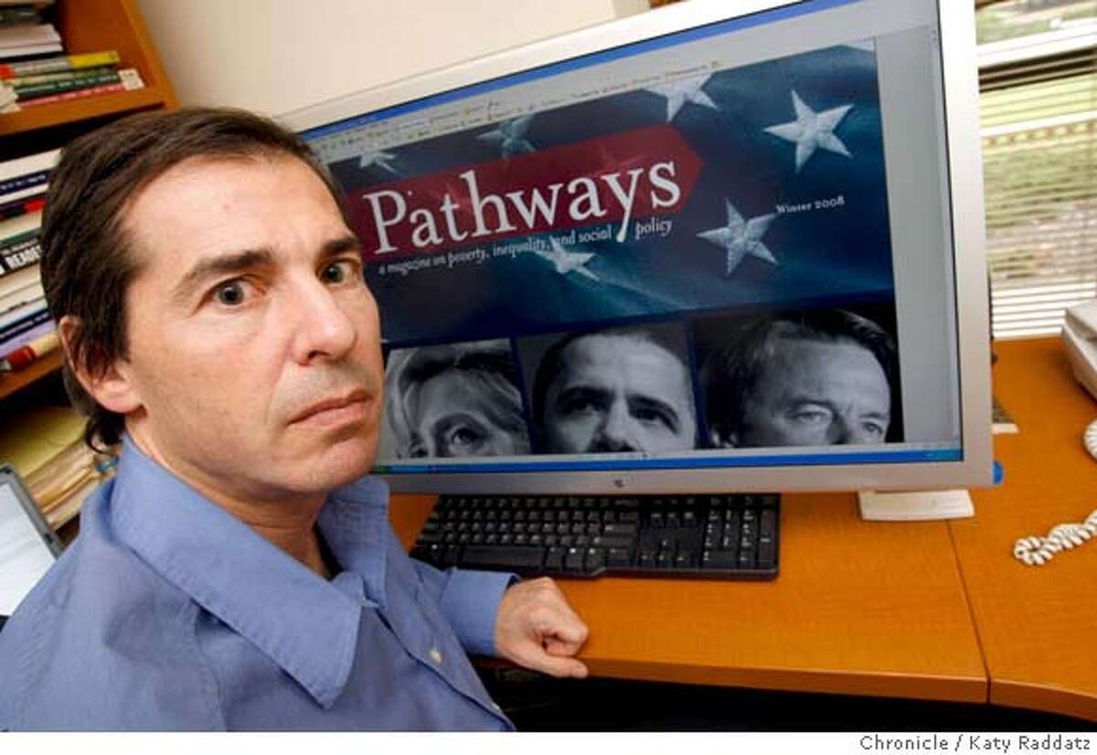 """PATHWAYS Professor David Grusky, editor of a new quarterly magazine out of Stanford University called """"Pathways: A Magazine on Poverty, Inequality, and Social Policy."""" These pictures were made on Monday, Jan. 14, 2008, in Stanford, CA. KATY RADDATZ/The Chronicle"""