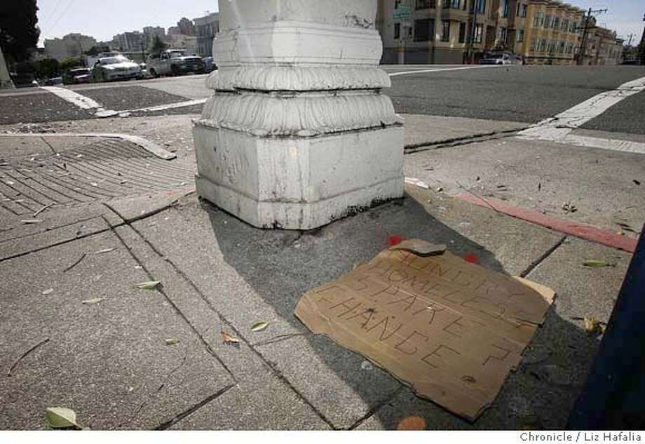 Sign on Van Ness Ave. at Greenwich street where panhandler was said to be his regular spot. �2007, San Francisco Chronicle/ Liz Hafalia  MANDATORY CREDIT FOR PHOTOG AND SAN FRANCISCO CHRONICLE. NO SALES- MAGS OUT. Photo: Liz Hafalia