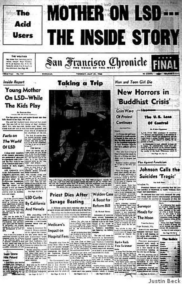 "May 31, 1966 ? The Chronicle's series on LSD continues with reporter Donovan Bess's account of ""Eve,"" a 26-year-old mother of three who drops acid in the presence of her children because she wants to ""get down to their level"" for a while. The woman and a friend each swallow two capsules of the still-legal hallucinogenic drug, then take the kids to a playground. ""If I didn't do this now and then,"" says Eve, ""I'd lose my sanity."" Photo: Justin Beck"
