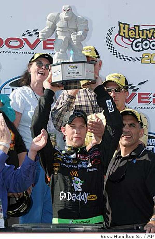 Driver Brad Keselowski celebrates in victory lane after winning the NASCAR Heluva Good! 200 Nationwide series auto race, Saturday, May 30, 2009, in Dover, Del.  (AP Photo/Russ Hamilton Sr.) Photo: Russ Hamilton Sr., AP