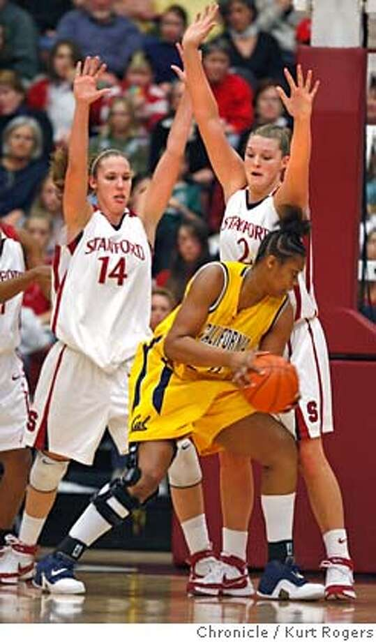 Stanford's Kayla Pedersen and Jayne Appel guard cal's Devanei Hampton Sah couldnt get the shot off in time.  Stanford Vs Cal at Maples Pavilion on the Stanford Campus.  Kurt Rogers / The Chronicle Photo: Kurt Rogers