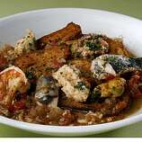 Reinvented classic Cioppino photographed  in San Francisco on Tuesday, May 18, 2009. Food Styling by Mathew Ransey