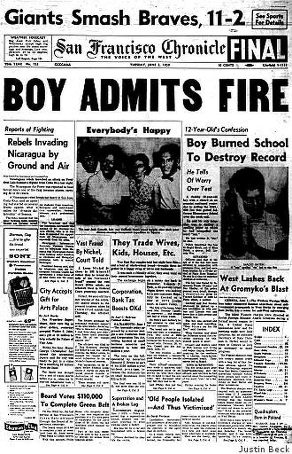 """June 2, 1959 ? A 12-year-old student has confessed to setting fire to Jefferson Elementary School in San Francisco. The four-alarm blaze on May 31 gutted the school, located at 19th Ave. and Irving St. in the city's Sunset District, causing $300,000 in damage and rendering it unusuable. The boy told police that he had intended only to destroy a spelling test on which he had misspelled the word """"ran."""" He had written it """"rin."""" Photo: Justin Beck"""