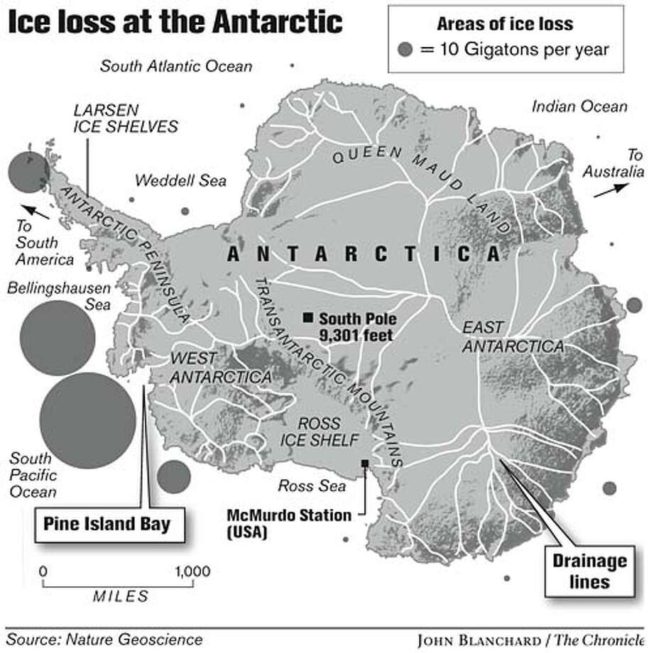 Ice loss at the Antarctic. Chronicle graphic by John Blanchard