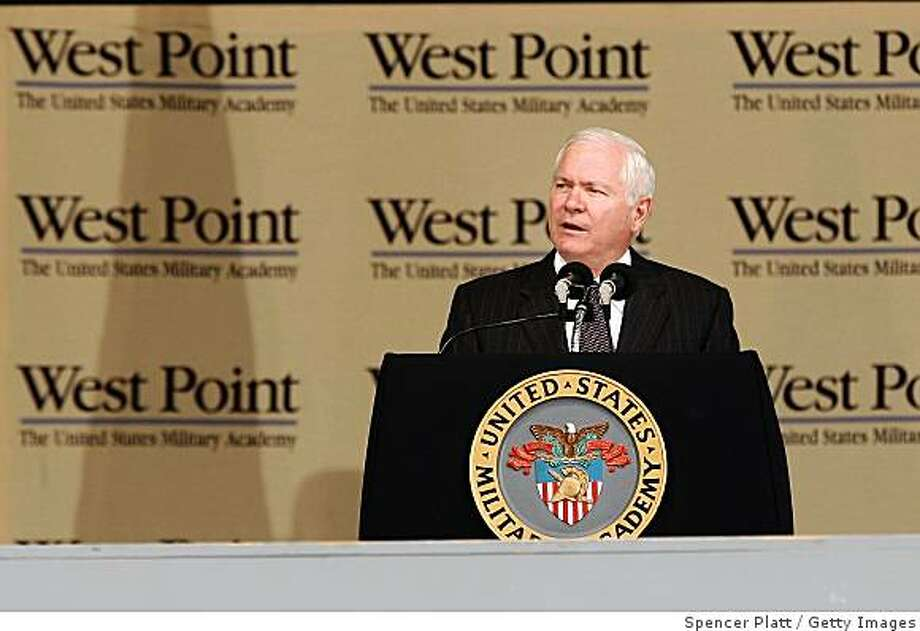 WEST POINT, NY - MAY 23: Secretary of Defense Robert Gates addresses the cadets in the graduating class of the United States Military Academy at West Point participate in commencement exercises on May 23, 2009 in West Point, New York. Secretary of Defense Gates gave the commencement speech to the 970 graduates at the elite military academy.  (Photo by Spencer Platt/Getty Images) Photo: Spencer Platt, Getty Images