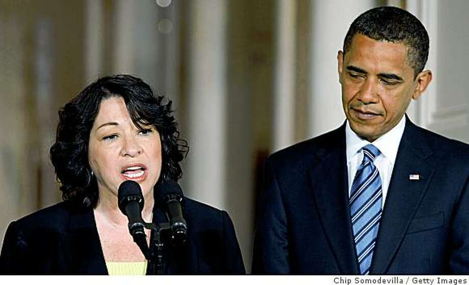 WASHINGTON - MAY 26:  Judge Sonia Sotomayor (L) makes brief remarks after U.S. President Barack Obama announced that she is his choice to replace retiring Justice David Souter on the Supreme Court during an announcement in the East Room of the White House May 26, 2009 in Washington, DC. If approved by the U.S. Senate, Sotomayor will be the first Hispanic and the thrid woman ever to serve on the Supreme Court. Sotomayor currently sits on the United States Court of Appeals for the Second Circuit, based in New York.  (Photo by Chip Somodevilla/Getty Images) Photo: Chip Somodevilla, Getty Images