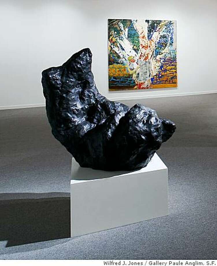 """Night"" (2004) bronze by William Tucker (foreground) and ""The Forming of the Senses"" (2009) oil on linen by David Hannah (background)in their joint exhibition at Gallery Paule Anglim, San Francisco Photo: Wilfred J. Jones, Gallery Paule Anglim, S.F."