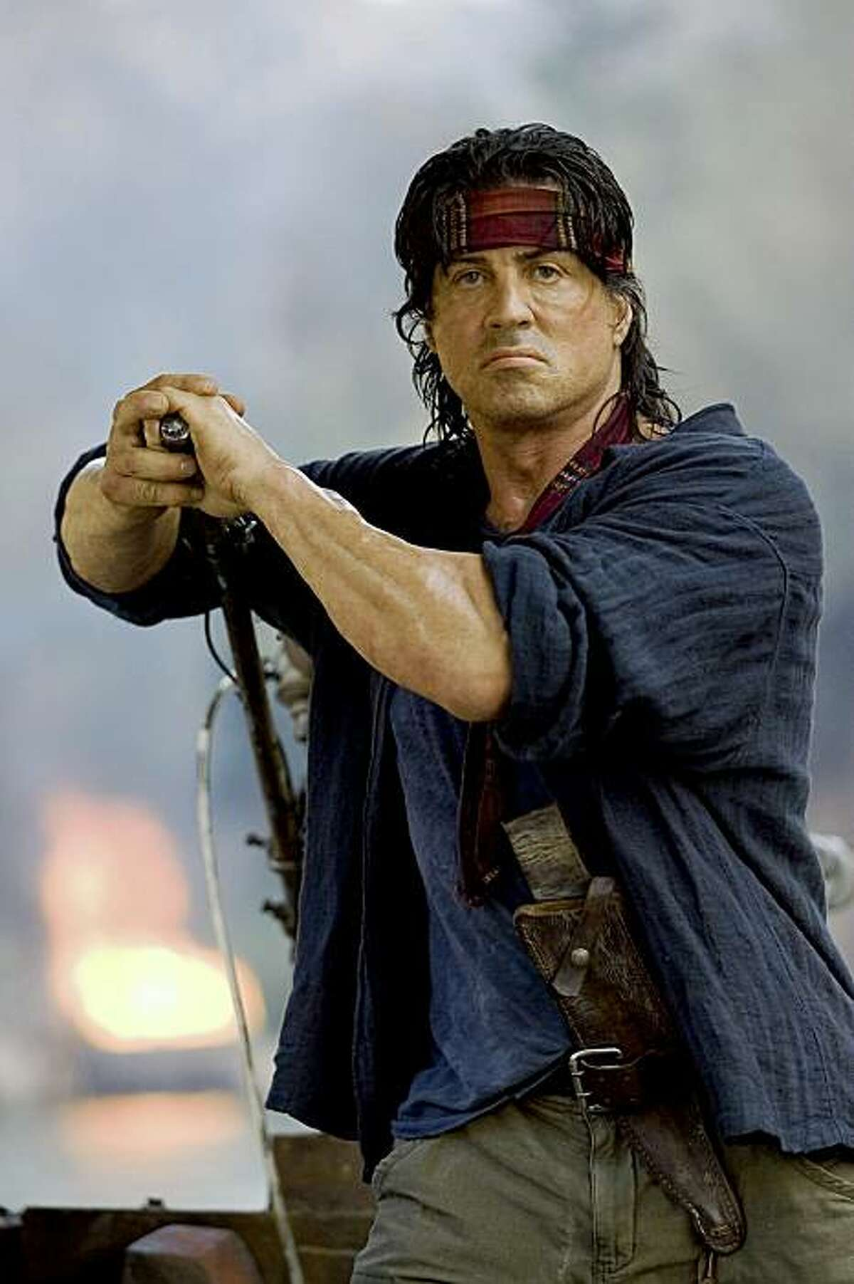 """This undated photo provided by Lionsgate shows Sylvester Stallone in a scene from """"Rambo."""" (AP Photo/Lionsgate, Karen Ballard)"""