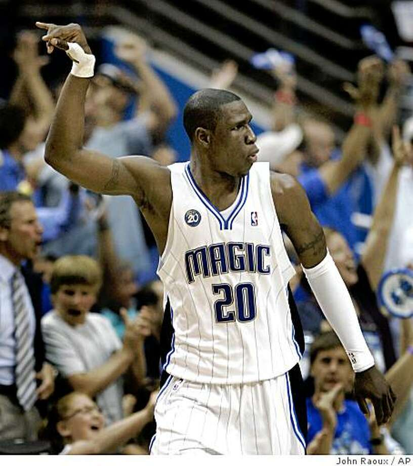 Orlando Magic's Mickael Pietrus, of France, reacts after making a first-half shot during Game 4 of the NBA Eastern Conference basketball finals against the Cleveland Cavaliers on Tuesday, May 26, 2009, in Orlando, Fla. (AP Photo/John Raoux) Photo: John Raoux, AP