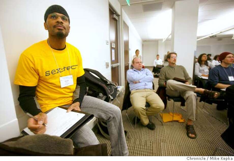 Javarre' Wilson, a grad student at SFSU, listens in at San Francisco State University's Institute for Next Generation Internet where students and educators are gathering in San Francisco for a conference on sex and technology called SexTech. Mike Kepka / The Chronicle Photo: Mike Kepka