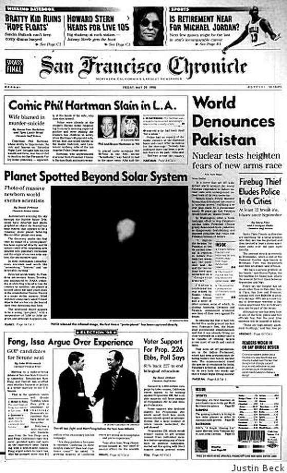 May 29, 1998 ? The world reacts with alarm after Pakistan's underground nuclear tests a day earlier. The five tests are a response to India's nuclear tests two weeks prior. In other news, scientists tenatively celebrate what could be the first planet outside the solar system to be photographed directly, and fans of Phil Hartman mourn the comedian's death. He had been murdered by his wife, who had then shot and killed herself. Photo: Justin Beck