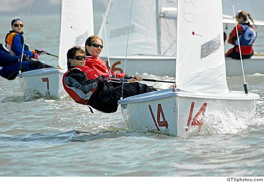 "Stanford University sailing team lines up for the ICSA Women's National Championship off Crissy Field. Freshman Hannah Burroughs (Peace Dale, R.I.) is the skipper (redhead in the back of the boat) and junior Catherine Cu (Hillsborough, Calif.) is in the front.Photo is editorial free with use of the event title ""ICSA Women's National Championship"" and credit to GTSphotos.comquestions on credit or names can be directed to Jan Harley, Jan.Harley@MediaProNewport.com, Media Pro Int'l, 401-849-0220 for ICSA Photo: GTSphotos.com"
