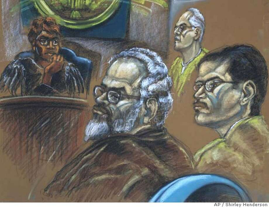 **CORRECTS POSITION OF PADILLA TO RIGHT** U.S. District Judge Marcia Cooke, rear left, and defendants Adham Amin Hassoun, left, Kifah Wael Jayyousi, rear center, and Jose Padilla, right, are seen during sentencing deliberations in Miami, Thursday, Jan. 10, 2008. Judge Cooke sentenced all three defendants on Tuesday Jan. 22, 2008. Padilla was sentenced to 17 years and four months, Hasssoun received 15 years and eight months and Jayyousi received 12 years and eight months in prison. (AP Photo/Shirley Henderson) **CORRECTS POSITION OF PADILLA TO RIGHT** Photo: Shirley Henderson