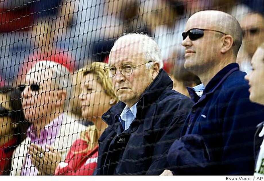 Former Vice President Dick Cheney looks on during the Philadelphia Phillies and Washington Nationals  baseball game on Sunday, May 17, 2009, in Washington.  (AP Photo/Evan Vucci) Photo: Evan Vucci, AP