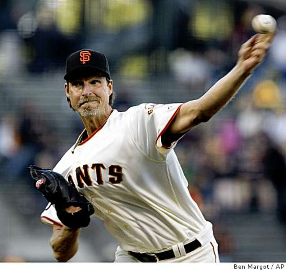 Randy Johnson throws against the Atlanta Braves during the first inning Wednesday in San Francisco. Photo: Ben Margot, AP