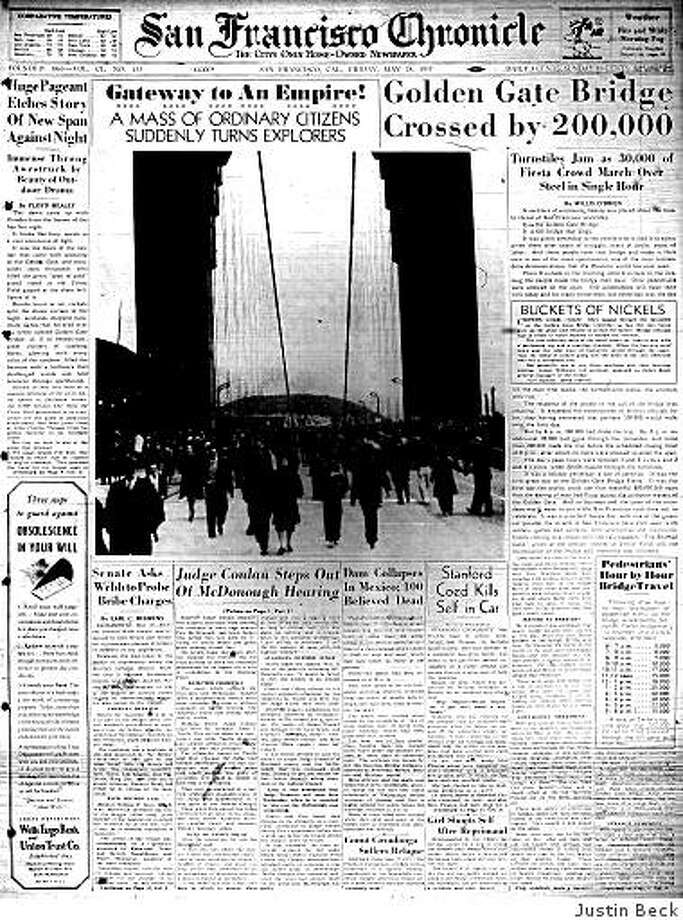 """May 28, 1937 ? """"A necklace of surpassing beauty was placed about the lovely throat of San Francisco yesterday,"""" writes Chronicle reporter Willis O'Brien a day after the Golden Gate Bridge opens to foot traffic. At the time of its opening, it is the longest suspension bridge in the world. It had cost $35 million to build the bridge, which would become world-famous not just for its beauty but also for being a suicide magnet. Photo: Justin Beck"""