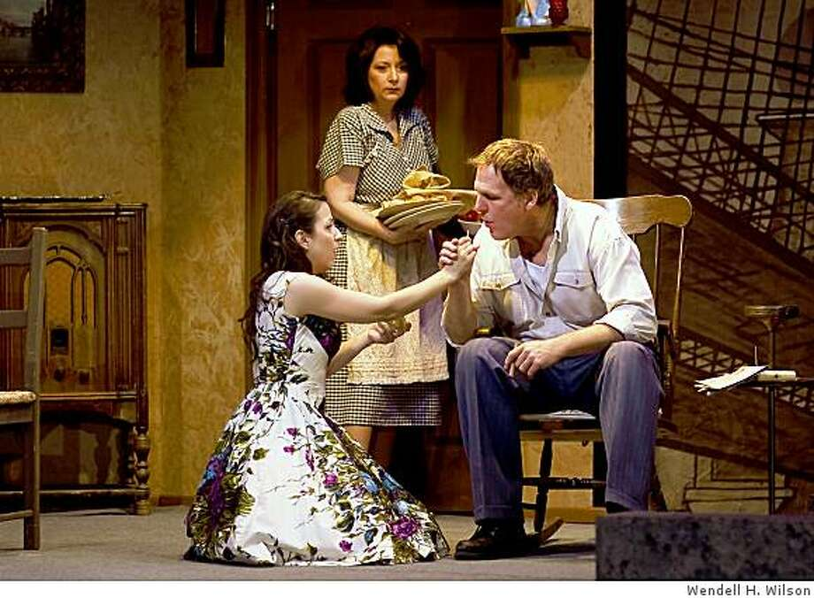 "Denise Elia (left) as Catherine, Hallie Frazer as Beatrice and Eric Burke as Eddie in the Ross Valley Players production of Arthur Miller's ""A View from the Bridge"" Photo: Wendell H. Wilson"