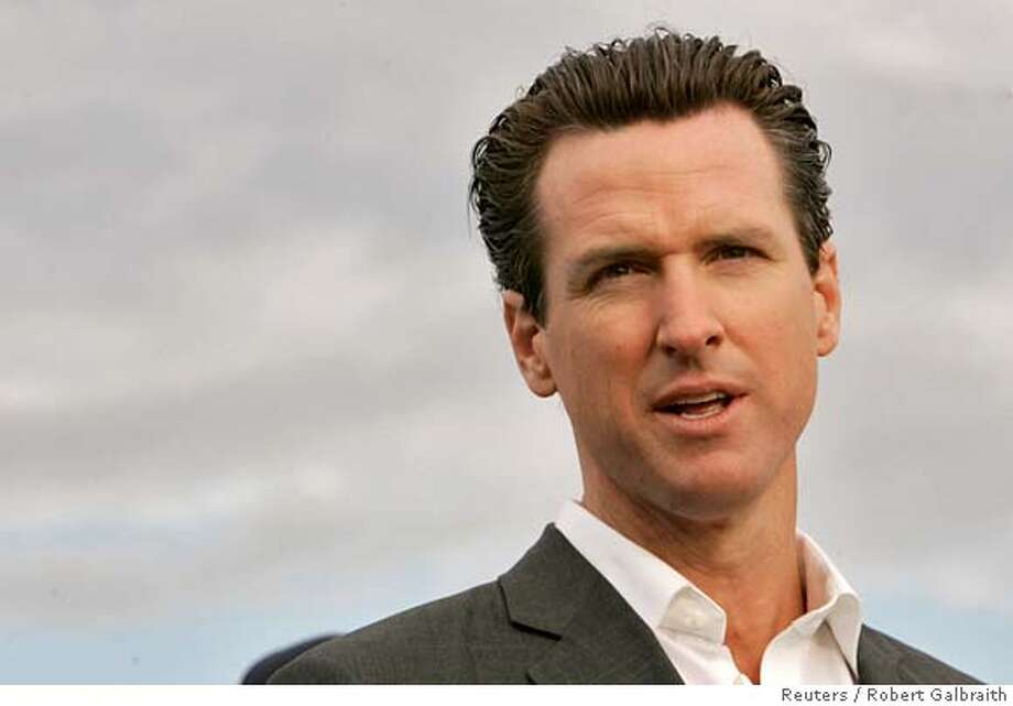 San Francisco's Mayor Gavin Newsom is seen in this November 2007 file photo, January 2 2008. Newsom, 40, and actress Jennifer Siebel are engaged to be married, a mayor's spokesman said. REUTERS/Robert Galbraith (UNITED STATES)  Ran on: 01-09-2008  Gavin Newsom  Ran on: 01-09-2008 Ran on: 01-09-2008 Ran on: 01-09-2008 Ran on: 01-25-2008 Ran on: 01-25-2008 0 Photo: ROBERT GALBRAITH