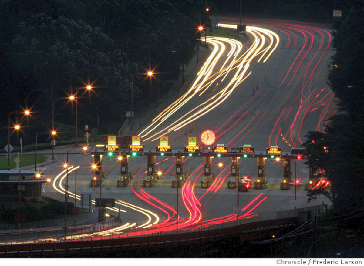 A slow shutter speed made the heavy traffic disappear, I wish that was always the case. Morning (7am) commute traffic through the toll plaza of the Golden Gate Bridge. 2/8/05 San Francisco Frederic Larson The San Francisco Chronicle