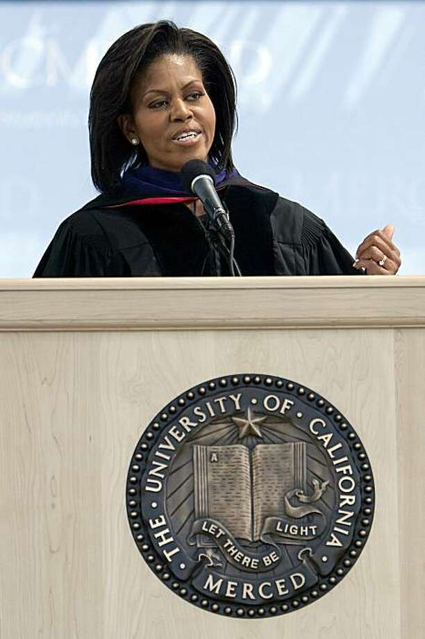 First Lady Michelle Obama Delivers the commencement speech at the University of California, Merced on May 16, 2009 in Merced, California. The 500 graduating students receiving diplomas are the first graduating class since the university opened in 2005. Photo: David Paul Morris, Getty Images