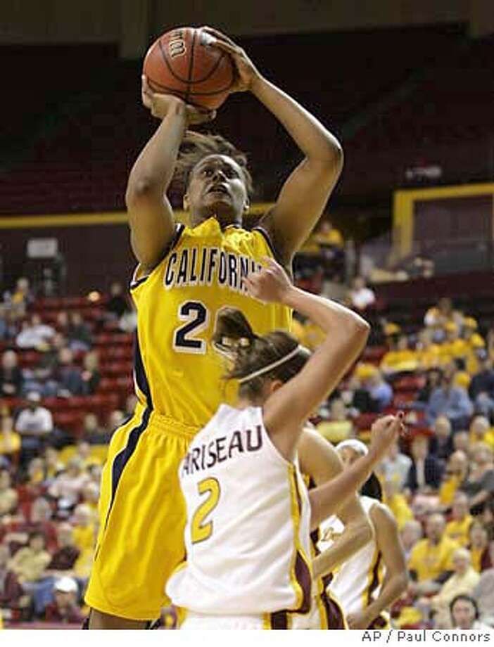 California forward Devanei Hampton, top, shoots over Arizona State guard Reagan Pariseau, bottom, in the second half of a women's basketball game Thursday, Jan. 17, 2008, in Tempe, Ariz. Hampton was the games high-scorer with 28 points as California won, 64-51. (AP Photo/Paul Connors) Photo: Paul Connors