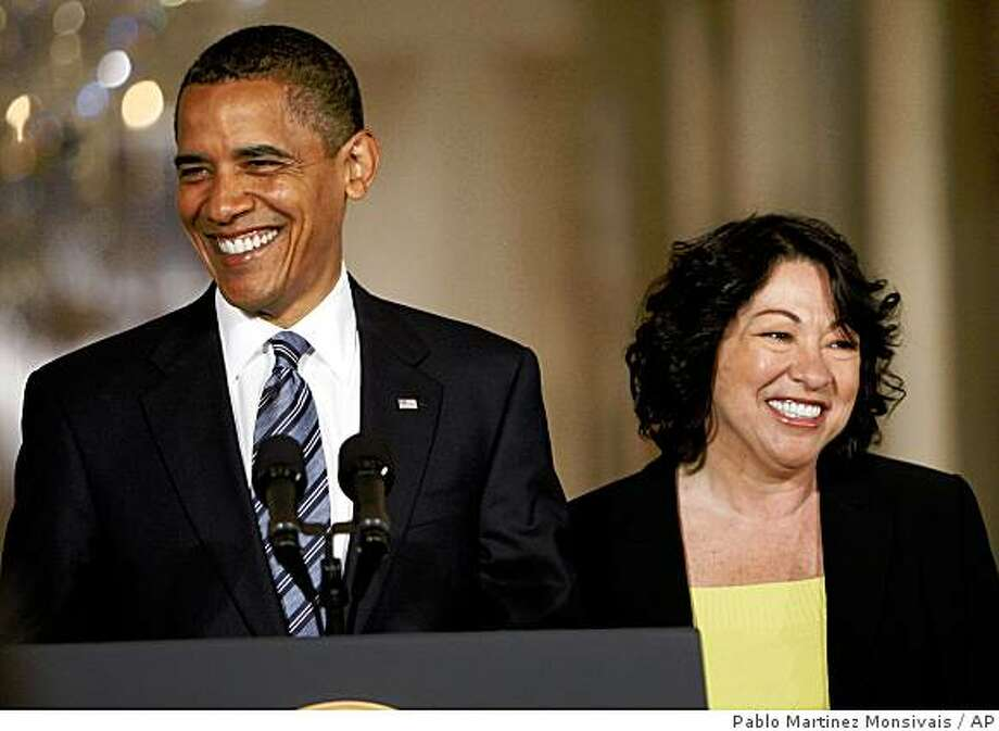 President Barack Obama announces federal appeals court judge Sonia Sotomayor, right, as his nominee for the Supreme Court in an East Room ceremony at the White House in Washington. Photo: Pablo Martinez Monsivais, AP