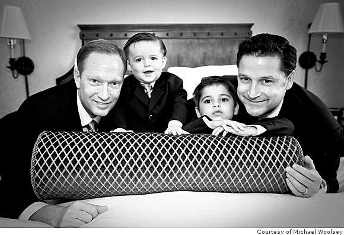 Jeff (left) and Dave Chandler pose for a portrait with their sons Taylor (2), and Jacob (5). Jeff and Dave were married in October 2008.