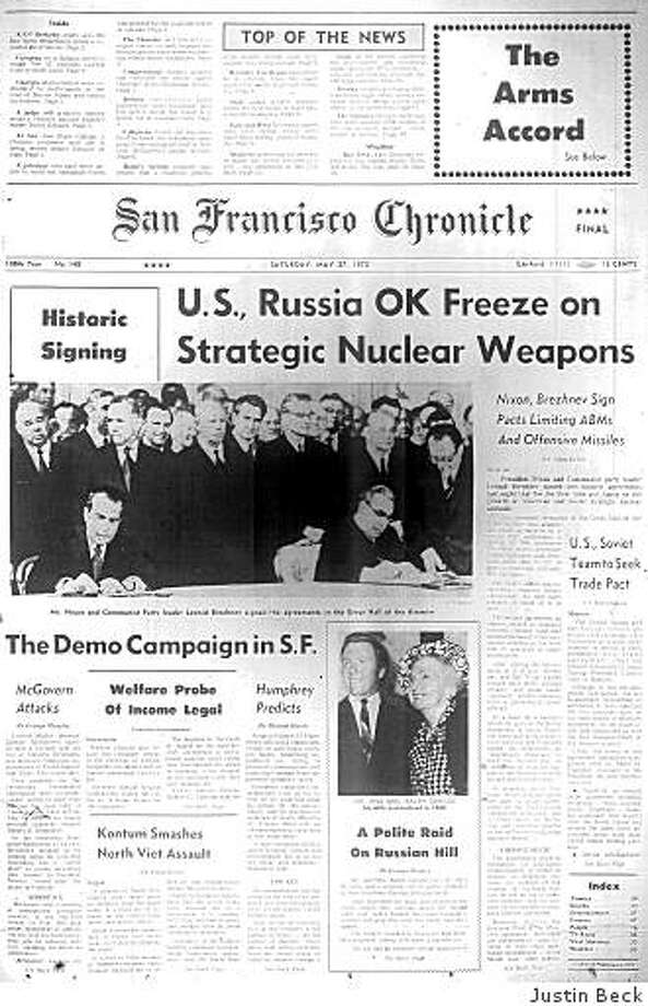 May 27, 1972 ? The United States and Soviet Union have agreed to freeze the number of their strategic nuclear weapons and also to limit anti-ballistic missile defense. Under the Anti-Ballistic Missile Treaty, signed in Moscow on May 26, each country would be allowed only one missile defense system for its capital and one for its ICBM silos. The treaty lasts until 2002 when the United States unilaterally withdraws. Photo: Justin Beck