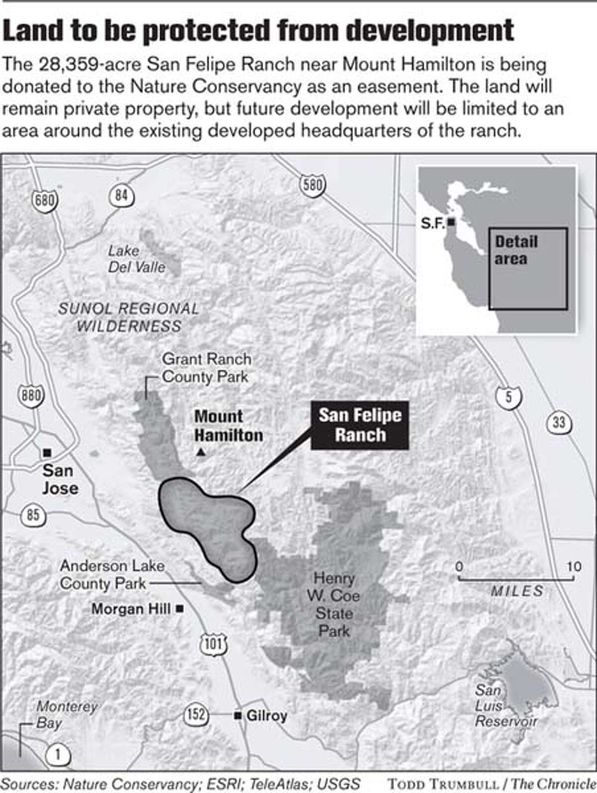 Land to be protected from development. Chronicle graphic by Todd Trumbull