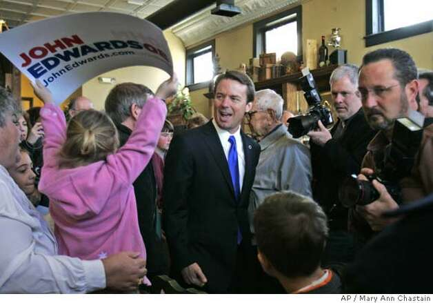 Democratic presidential hopeful, former Sen. John Edwards, D-N.C., makes a campaign stop to talk to supporters and undecided voters Sunday, Jan. 20, 2008, in Newberry, S.C. (AP Photo/Mary Ann Chastain) Photo: Mary Ann Chastain