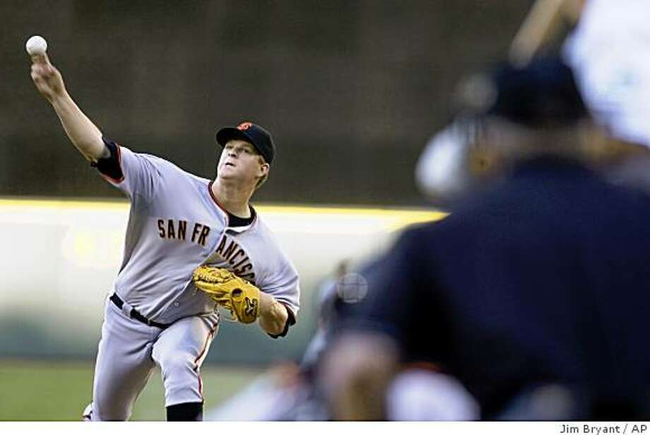 San Francisco Giants' Matt Cain pitches against the Seattle Mariners in the second inning of a baseball game in Seattle on Saturday, May 23, 2009. (AP Photo/Jim Bryant) Photo: Jim Bryant, AP