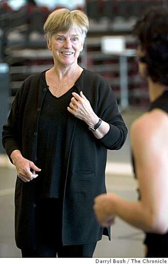 """Brenda Way, artistic and executive director of ODC Dance Center, talks to dancer Justin Flores, during rehearsals for the upcoming """"A Pleasant Looking Woman in Sensible Clothes,"""" at ODC Dance Commons, in San Francisco, CA, on Wednesday, January, 31, 2007. photo taken: 1/31/07 Darryl Bush / The Chronicle ** Brenda Way, Justin Flores (cq) Photo: Darryl Bush, The Chronicle"""